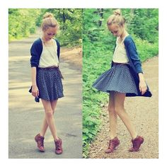 This WILL be my back to school outfit for my freshman year.  ♥ Navy cardigan ♥ White tank ♥ Navy and white skirt [ belted ] ♥ Brown oxfords / booties  @Alyssa Marie
