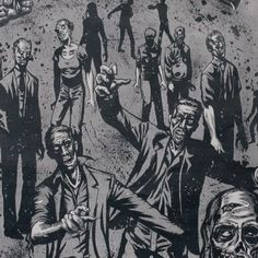 Zombie in Charcoal by Alexander Henry Fabrics - Bunbury Zombie Face, Alexander Henry Fabrics, Zombie Apocalypse, Trick Or Treat, Charcoal, Cotton Fabric, Grey, Prints, Zombies