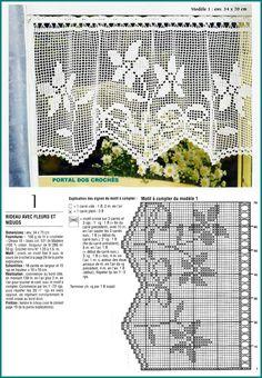 BANDÔS E CORTINAS DE CROCHÊ Filet Crochet, Crochet Lace Edging, Crochet Motifs, Crochet Doilies, Knit Crochet, Crochet Patterns, Crochet Curtain Pattern, Crochet Curtains, Curtain Patterns