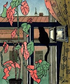 Cat in the window painting. Alexey Kofanov - View of the Trinity Church