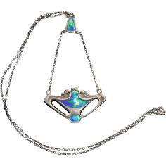 Charles Horner Art Nouveau Sterling Enamel Pendant Necklace