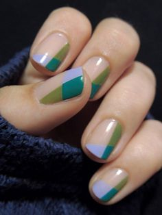 Colour-blocked nails