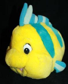 "Disney Little Mermaid Flounder Plush 12"" Stuffed Animal Blue Yellow Fish Toy"