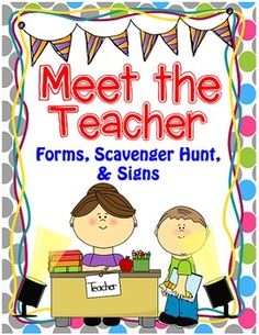 Kick off the Year right with this Meet the Teacher Packet!  It's all you need to help you organize your classroom as you prepare to meet your new students.Includes:-Welcome Note and Student and Parent Scavenger Hunt (Editable)-Meet the Teacher Sign-In Sheets-Student Information Cards -Room Parent Note-Volunteers Needed Note-School Supply Signs Add Text Boxes to Add Students' Names:-How We Go Home Charts (First Day of School and the Rest of the Year)-How We Go Home Charts with Numbers and…