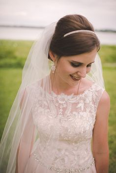 soft bridal updo with sparkly headband and veil ~  we ❤ this! moncheribridals.com