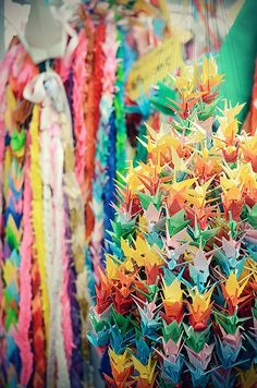 Thousand paper cranes. Said to grant you one wish on the Chinese new year.