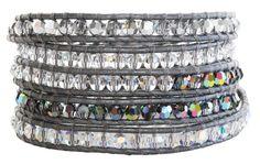 Chan Luu Swarovski Crystal Mix Grey Leather Wrap Bracelet bs-2257 $240.00. Available at www.regencies.com