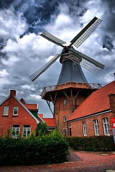 Windmill In Northern Germany Canvas Print / Canvas Art by Edward Myers