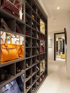 Shoe and handbag stored in chic grey niches - Taylor Howes UK