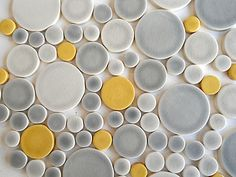 inspired yellow + grey round tiles