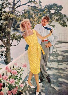 Yellow and White Polka Dot Sun Dress 1950s