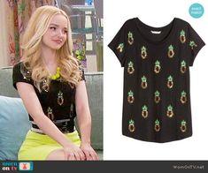 Liv's black pineapple top on Liv and Maddie.  Outfit Details: https://wornontv.net/64984/ #LivandMaddie