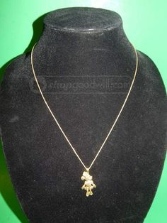 c0ed9b808 shopgoodwill.com: Rare Disney Minnie Mouse 14 Karat Gold Necklace Disney  Necklace, 14