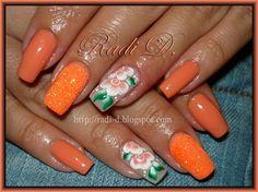 Orange neon glitter and Flowers by RadiD - Nail Art Gallery nailartgallery.nailsmag.com by Nails Magazine www.nailsmag.com #nailart