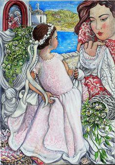 """Nerida de Jong (Born 1945), """"The Flower Girl"""""""