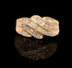 Ladies 10k Yellow Gold, .50 cttw Round & Baguette DIamond Swirl Wedding Band, Fashion Ring $335