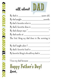 river & bridge: all about dad // free printable