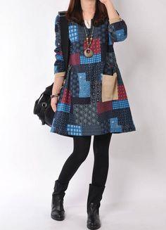 Vestido Vintage estampa retalhos curto manga comprida azul  marinho vinho
