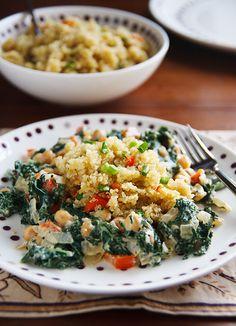 Cosmic Cashew Kale and Chickpeas with Confetti Quinoa