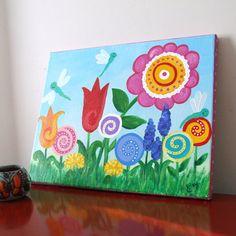 Dragonfly Garden. Original 14x11 canvas for kids.