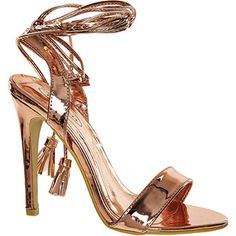 £16 Rose Gold Heeled Wrap Around Sandals