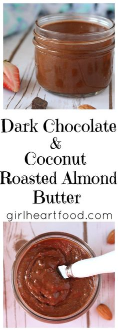 Easy step by step instructions on how to make Chocolate Coconut Roasted Almond Butter made with only 5 ingredients in about 25 minutes. It's delicious twist on basic almond butter. Perfect for bread, fruit or just eating with a spoon! Chocolate Flavors, Chocolate Recipes, Vegan Chocolate, Homemade Almond Butter, Roasted Almonds, Diy Food, Yummy Food, Delicious Recipes, Vegetarian Recipes