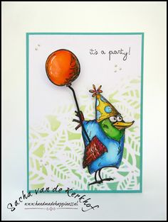 Handmade Happiness (by Sacha) | Bird Crazy | Crazy Things | Crazy Talk | Zig Clean Color Real Brush Markers | Distress Oxide Ink | Tim Holtz | Birthday Card