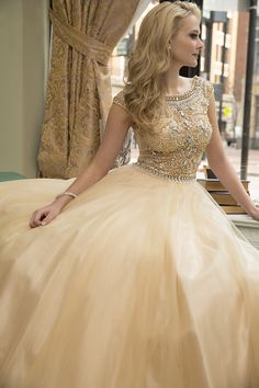 2015 Cap Sleeve Scoop A-Line Champagne Long Prom Dresses Floor-Length Full Beaded Bodice Tulle Formal Gowns