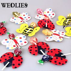 Lollipop Insect Card Decoration 50pcs Candy Bees Ladybug Butterfly Gift Cute Birthday Party For Kids Wedding Decor