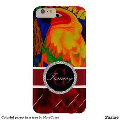Colorful parrot in a tree barely there iPhone 6 plus case Brilliant red diamond design on the bottom And a Elegant photo of a tropical bird.