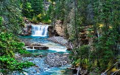Download wallpapers waterfall, mountain river, mountain landscape, rocks, stones