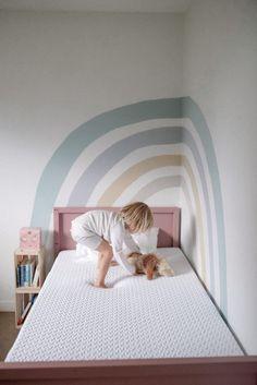 Girls Room Paint, Girl Bedroom Walls, Bedroom Murals, Kids Bedroom, Wall Murals, Rainbow Bedroom, Rainbow Wall, Rainbow Room Kids, Room Wall Painting