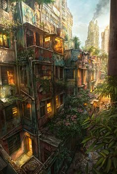 Concept Art of how greenery could take over an urban environment. The Last of Us? RCL