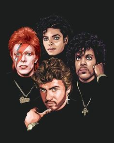 Davie Bowie,Michael Jackson,Prince & George Michael