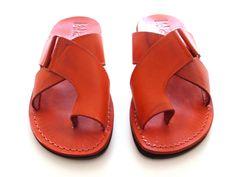 SALE ! Leather Sandals BROOKLYN Men's Shoes Jesus Jerusalem Strappy Flip Flops Flats Slides Slippers Biblical Colored Footwear Fisherman by Sandalimshop on Etsy