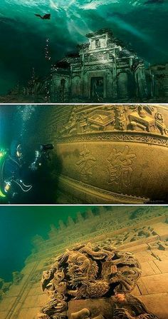 Underwater ancient city Qiandao (Thousand Island ) lake ,  China.