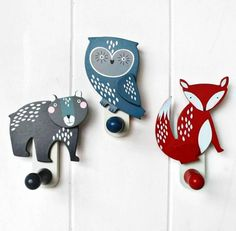 Furniture, Original Set Of Three Woodland Animal Coat Hooks Fox Owl And Bear Animal Coat Hook With Colorful Design Pretty And Awesome Wonderful Cool Exclusive Animal Coat Hooks Design ~ Terrific Design Of Animal Coat Hooks With Charming And Sweet Shape