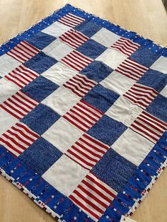 Patriotic stripes 4th of July table topper by TinaZee on Etsy, $25.00