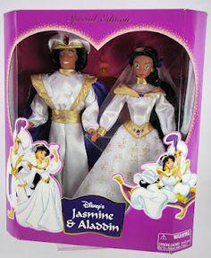 Disney Exclusive doll set, Jasmine and Aladdin wedding dolls Disney Princess Jasmine, Disney Princess Dolls, Aladdin And Jasmine, Barbie Style, American Girl Doll Movies, Disney Barbie Dolls, Barbie Box, Aladdin Wedding, Disney Descendants Dolls