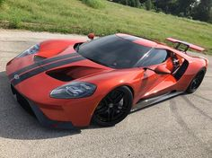 Ford GT painted in Beryllium Orange w/ Black racing stripes and a set of HRE S107 Wheels painted in Black Photo taken by: @fordgtstore on Instagram Owned by: @fordgtstore on Instagram