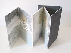 Susan Leiper  Concertina book in silk covers: oil,plaza and graphite on board