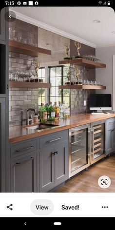 Home Wet Bar, Diy Home Bar, Bars For Home, In Home Bar Ideas, Custom Home Bars, Custom Homes, Wet Bar Designs, Basement Bar Designs, Modern Home Bar Designs