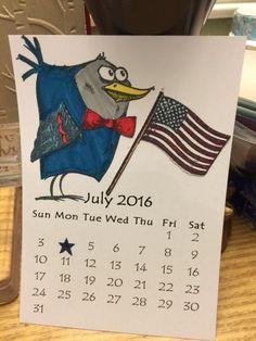 Crazy Birds Mini Calendar July 2016