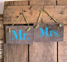 Reclaimed MR and MRS Wood Sign Hand Painted Decor by JunkWorksEtc, $16.50