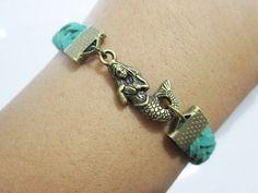 Bracelet- bronze mermaid woven  bracelets #European