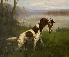 betweenthewoodsandthewater:    Setter with Duck, Percival Leonard Rosseau, 1859-1937