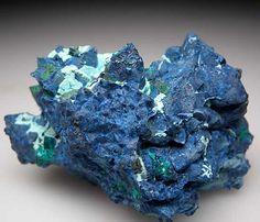 Shattuckite after Dioptase after Calcite from Tantara Mine, Shinkolobwe, Democratic Republic of Congo