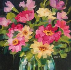 """Daily Paintworks - """"Bright Side Zinnias"""" - Original Fine Art for Sale - © Libby Anderson"""