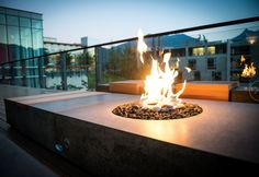 concrete fire feature by landscape furnishings