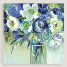 Blue has never looked more cheerful than in our bright floral wall art, featuring a tall glass vase brimming with cool-colored blooms.